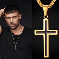 moda latina venda por atacado-U7 latim cruz cristã pingentes colares jóias religiosas 18 k banhado a ouro / aço inoxidável moda cruz jóias acessórios do presente perfeito