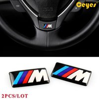 Wholesale Bmw Windshield Sticker - Car Logo Stickers for Bmw M M3 M5 M6 Personality Labels Auto Decorations Accessories Car Plastic Drop Sticker Car Styling 2pcs Lot