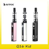 justfog batterie großhandel-Original Justfog Q16 Starter Kit 900mAh Batterie E Zigarette Vape Pen mit authentischen 2ml Zerstäuber 1,6 Ohm OCC Spule 100% Original 2245004