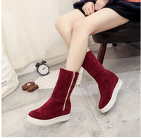 Wholesale Women Wearing Boots - The increase in warm fashion side zipper and belt buckle two way of wearing boot winter snew shoes. WH25