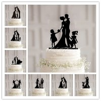 Wholesale Wedding Topper Silhouette - Family Silhouette kissing bride and groom and child wedding cake topper black acrylic birthday cake toppers Anniversary