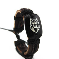 wolfskopf armbänder großhandel-Großhandelsart- und weiseschwarz-echtes echtes Leder-handgemachter Bindungs-Wolf-Kopf Tiertotem-Armband-Armband, preiswertes Armband