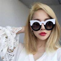 Wholesale Large Cat Eye Sunglasses - Designer Lladies Sunglasses for Women Round Sun Glasses Fashion Large Frame Shades Sunglasses 2017 High Quality Cat Eye Sunglasses