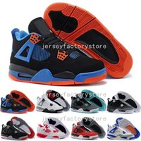 Wholesale Shoes Transparent Rhinestones - (With Box) Drop ship mens Air retro 4 Black Suede basketball Shoes jumpman 4s Banned Crystal transparent sole sports shoes dan 4 size 41-47