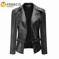 Wholesale leather biker jackets wholesale - Wholesale- Black Faux Leather Wide Lapel Slim Jackets Women PU Leather Motorcycle Biker Jacket Plus Size XXXL Coats Winter Female Outerwear
