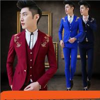 chaqueta de elección al por mayor-Los nuevos hombres de moda adelgazan la chaqueta del bordado con el chaleco y los pantalones Cinco opción del color para la boda lleva