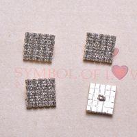 Wholesale Square Rhinestone Embellishments - (J0077) 16mmx16mm(5x5,square shape) rhinestone embellishment with loop at back,silver plating,100pcs lot