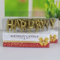 Wholesale Gold Sliver Happy Birthday Letter Cake Birthday Party Festival Supplies Lovely Birthday Candles for Kitchen Baking Gift