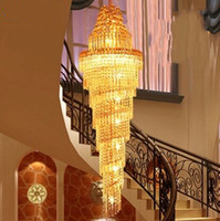 Wholesale Large Iron Pendant Light - NEW Gold Chandelier Palace Swirl Large Crystal Pendant Lamp Villas Hotel Hall Light Staircase Lights Droplight MYY