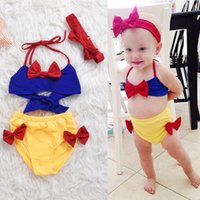 Wholesale Cheap Two Piece Swimsuits - Baby Girls Swimwear 3pcs Sets Lovely Bow Swimsuit Beachwear Summer Kids Swimming Suit Two-Pieces With Headbands Cheap Wholesale Free DHL 222