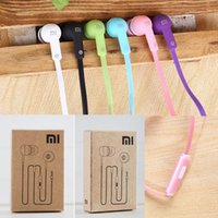 Wholesale Ear Plugs For Cell Phones - 3.5mm Plug Noodle XIAOMI In-ear Earphone Stereo Headset Headphone Answer calling For Xiaomi Samsung HTC Universal Mobile Phone free shipping
