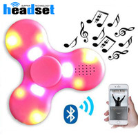 Wholesale Wholesale Led Mini Light Sets - Hot spinner toy + bluetooth speaker spinner LED Flash light hand spinner tri cube Fluorescent child adult gyroscope finger with package