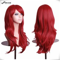 Wholesale Miku Hatsune Wig Curly - Fashion Hatsune Miku Wig Curly Wave Hair Burgundy Long Synthetic Wig for Black Women Wine Red Anime Cosplay Perruque Peruca Wig Cosplay wome