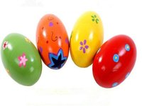 Wholesale Percussion Music Instruments - Wholesale- NEW Hot Colorful Wooden Egg Children Toy Music Shaker Instrument Percussion Rattle