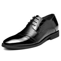 Wholesale Elevator Shoes New Arrivals - New Arrival Formal Elevator Shoes Male Leather Elevated 6cm Men's Commercial Lift Shoes 8cm Men's Lacing Shoes