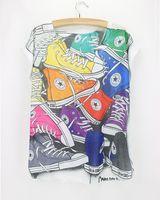 Wholesale Cheap Wholesale Cotton Tees - Wholesale- shoe printed vestidos2015 summer neat simple design top women short sleeve good quality cheap popular tee shirts