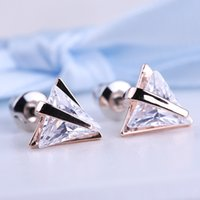 Wholesale Triangle Nail Stud - Triangle Zircon Ear Studs All-Match Fashion Ears Nail Simple Generous Shining Hot Sale Jewelry Accessories X07814Y