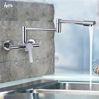 Wholesale wall mounted folding sink for sale - Group buy New style good Brass Folding kitchen faucet Wall Mount Swivel Kitchen Sink Faucet kitchen Mixer Tap Chrome Pot Filler Faucet