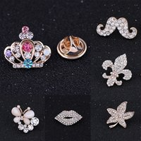 Wholesale Stud Blouses - Wholesale- Clear Crystal Fashion New Style Rhinestone Mini Brooch for Blouse Shirt Collar Neck Tips Stud Clip for rose gold plated brooches