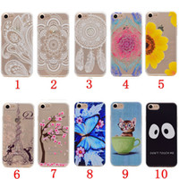 Wholesale Silicone Butterfly Iphone Cases - Flower Mandala TPU Soft Case For Ipod Touch 5 6 Iphone 7 PLUS I7 6 6S SE 5 5S Clear Cartoon Butterfly Love Cat Paris Eiffel Tower Skin Cover