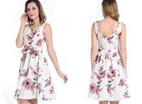 2017 sommer mode schöne floral bedruckte o neck sleeveless frauen dress backless kurze casual dress