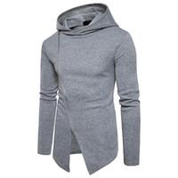 Wholesale Diagonal Zipper Jacket - Hip Hop Men Hoodie Sweatshirt Sudaderas Hombre Diagonal Zipper Casual Jacket Hoodie Sweatshirt Long Section Hooded Coat Men Hoody