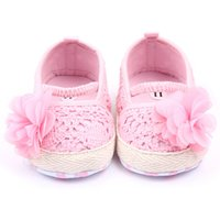 Wholesale Pre Walker White Shoes - Wholesale- Baby Shoes First Walker Pink White Cotton Floral Soft Sole Baby Pre-walker Shoes