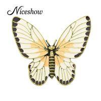 Wholesale Girls Enamel Jewelry - Fashion Jewelry Retro Style Antique Gold Beige Orange Enamel Butterfly Lovely Girl Insect Brooch Fashion Women Accessories