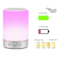 Wholesale Usb Timer Lamp - Portable Wireless Bluetooth Speaker LED Touch Dimmable Beside Lamp with RGB Color Hands-free Night Light FM Radio Timer Funtion