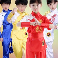 Wholesale Chinese Clothes For Boys - Wholesale- Children Chinese Traditional Wushu Costume Martial Arts Uniform Kung Fu Suit for Kids Boys Girls Stage Performance Clothing Set