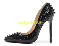 Wholesale Girls Wedding Shoes Ivory - Sexy High Heels Rivets Studded Spikes Shoes Ladies 12cm Dress Shoes Women and Girls Candy Spike Pumps