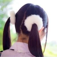 Wholesale Hair Ponytail Bobbles - Rabbit Fur Hair Band Bobble Elastic Cute Girls Plush Hair Rings Hairclips Headwear Hair Accessories