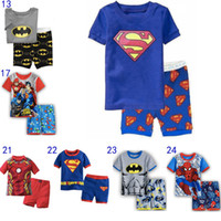 Wholesale Kids Baby Superhero Pajamas Sets Superman Batman The Avengers Sleepwear Short Sleeves Boys Summer Cotton Home Clothing Leisure wear MD099