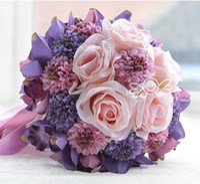 Wholesale Cheap Artificial Pink Bridesmaids Bouquets - 2017 Pink Sunflower Rose Artificial Bridal Flower Wedding Bouquet Flowers Bridal Brooch Bouquet buque de noiva Bridesmaid Flower Cheap