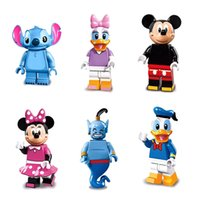 Wholesale Gift Set Toys - 2017 6pcs set Collector's Edition Mickey Minnie Donald Duck Daisy Stitch Genie Building Block Bricks Kids Gift Festival Toys