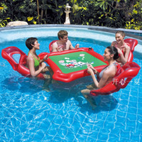Wholesale Inflatable Pool Games - Water Games Beach Party Inflatable Table Toy Pool Float Large Mahjong Floating Table for Hold with Drink Poker Chips Holder