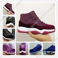 Wholesale Stretch Fabric Womens Shoes - 2017 Cheap New Retro 11 Velvet Heiress Night Maroon Mens Womens Basketball Shoes Wine Red 11s Velvet Heiress Sports Sneakers High Quality