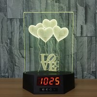 3D Big Love Ballons Ilusão Lâmpada Night Light Clock DC 5V USB Alimentado AA Battery Wholesale Dropshipping Free Shipping Retail Box
