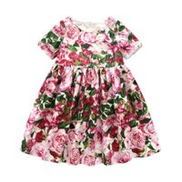 Wholesale girls ruffle outfits online - Girls Dresses with Briefs Flower  Ruffle Sundress Infant Toddler Kids 3ad2b95785d1