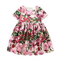 gekräuselte schriftsätze großhandel-Mädchen Kleider mit Briefs Blume Rüschen Sommerkleid Infant Kleinkind Kinder Kleid Mädchen Sommerkleider Outfits Casual Kinder Kleidung 6M-10T