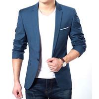 robes coréennes plus achat en gros de-Vente en gros - Mens coréenne Slim Fit mode coton Blazer Costume Veste Noir Bleu Plus la taille M à XXXL Blazers Homme Robe de mariage manteau 22