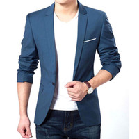 Wholesale Long Coat Korean Men - Wholesale- Mens Korean Slim Fit Fashion Cotton Blazer Suit Jacket Black Blue Plus Size M To XXXL Male Blazers Mens Coat Wedding Dress 22
