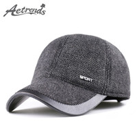 Wholesale Warm Russian Hats For Men - Wholesale- [AETRENDS] 2016 New Winter Woolen Hats for Men Russian Warm Baseball Caps with Earflaps Z-3989