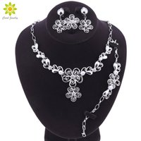 Wholesale bridal jewelry sets pearls silver for sale - Group buy Simulated Pearl Bridal Jewelry Sets Silver Color Wedding Necklace Earrings Bracelet Ring Sets Engagement Jewelry Accessories