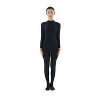 black full bodysuit womens großhandel-Erwachsene Lycra Spandex Rollkragen Damen Schwarz Zentai Anzug Ganzkörper Haut Body Hoodless Cosplay Dancewear