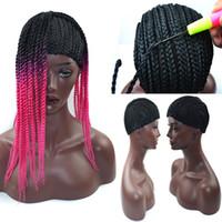 ingrosso piccole parrucche per le donne nere-Tappi parrucca intrecciata nera per fare parrucche Cornrows Cap parrucche all'uncinetto Small Medium Large Glueless Dome Hairnet Liner Maglia elastica per donne nere
