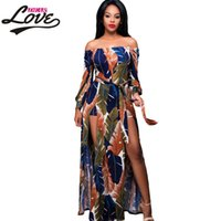 89452f80df8 Wholesale- Dearlove 2017 sexy Summer Beach Rompers Off The Shoulder Floral  Printed Maxi Romper Slash Neck Womens Jumpsuit long LC64214