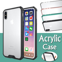 Wholesale plastic cushion covers - Acrylic Air Cushion Hybrid Crystal Armor Soft TPU Clear Transparent Frame Cover Case For iPhone X 8 7 Plus 6 6S Samsung Galaxy S9 S8 Note 8