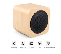 Wholesale Mp3 Mini Speaker Rechargeable - A008 creative portable wooden Bluetooth speaker Mini Wood with FM radio Handfree built-in rechargeable battery free shipping
