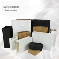 Wholesale advertising clothes - Wholesale- Wholesale 1000PCS Lot Custom logo 250g Paperboard 13Hx19x6 Bags With Handle  shopping bag clothes jewellery advertising Eco bags